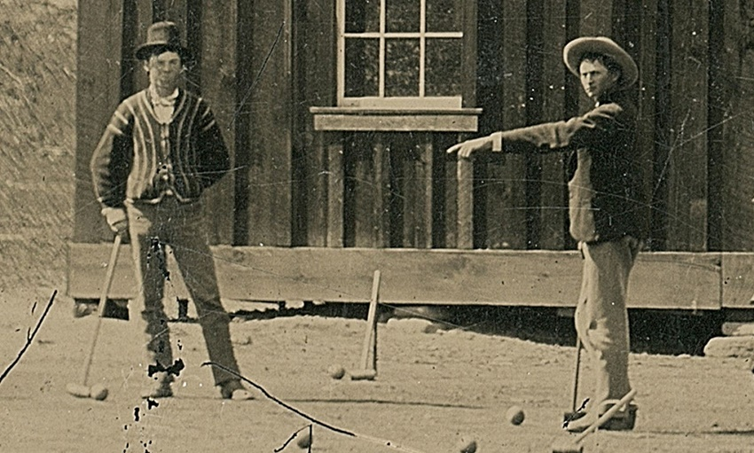 This photograph purports to show Billy the Kid playing croquet, although its authenticity has been heavily disputed.