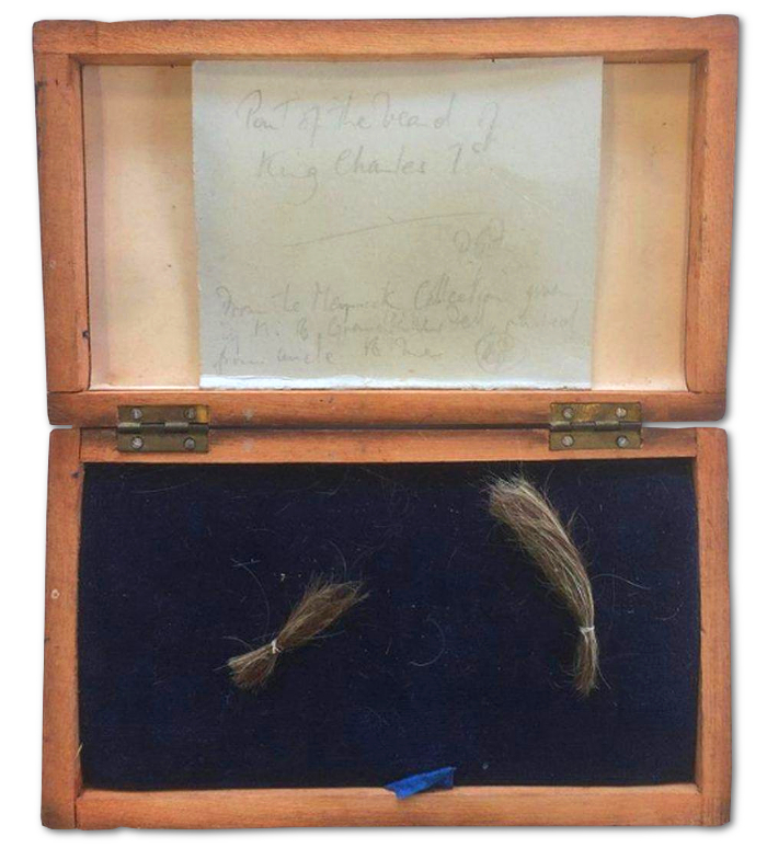 Two locks of hair from the beard of King Charles I, taken from his body during its famous exhumation in 1813 (Image: JustCollecting)
