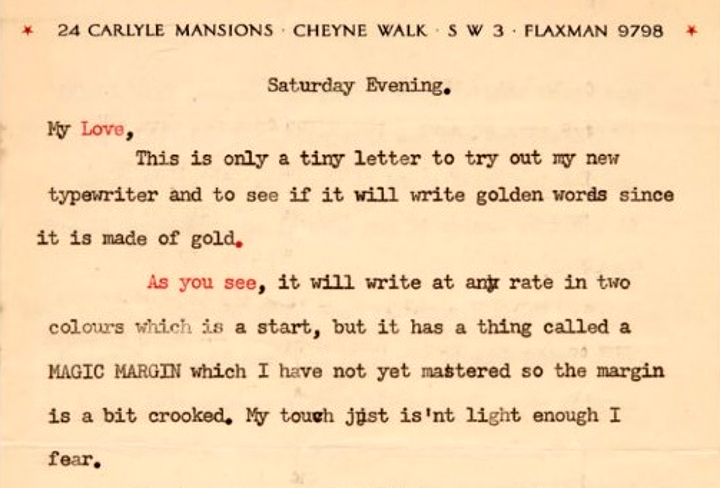 Flemming famously bought himself a golden typewriter to celebrate finishing his first James Bond novel Casino Royale in 1952, and used it to write Ann this letter (Image: Sotheby's)