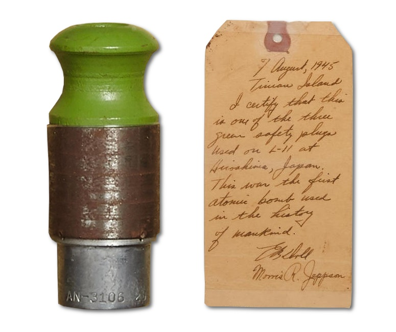 The Little Boy atomic bom featured three green safety plugs to prevent it detonating prematurely during flight (Image: Bonhams)