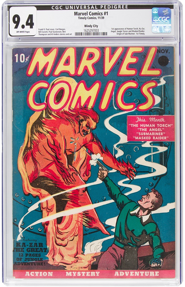 The Windy City copy of Marvel Comics #1, graded CGC NM 9.4 with off-white pages, which sold at heritage Auctions for a record $1.26 million (Heritage Auctions)