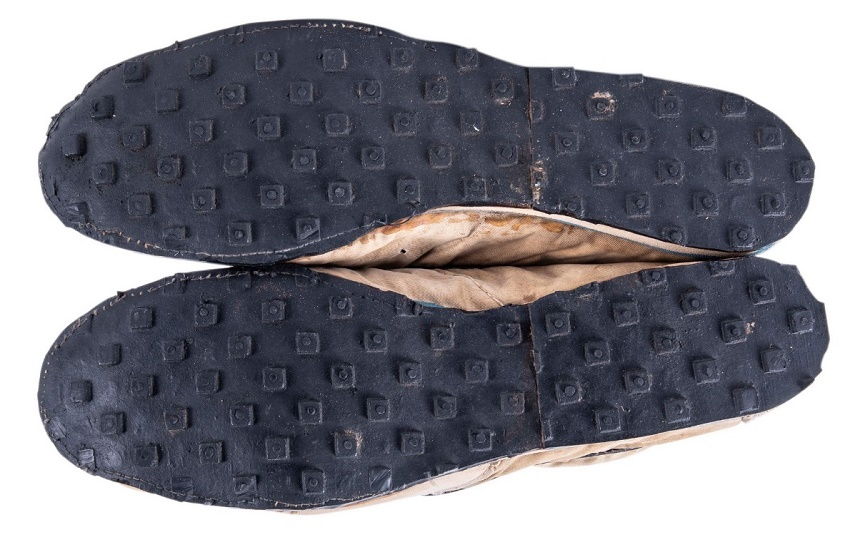 The innovative soles were made by pouring liquid rubber into a kitchen waffle iron (Image: Goldin Auctions)