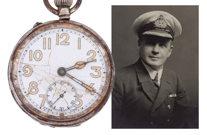 The pocketwatch of Charles Lightoller, Second Officer of the Titanic who survived the tragedy in April 2912 (Image: Goldin Auctions)