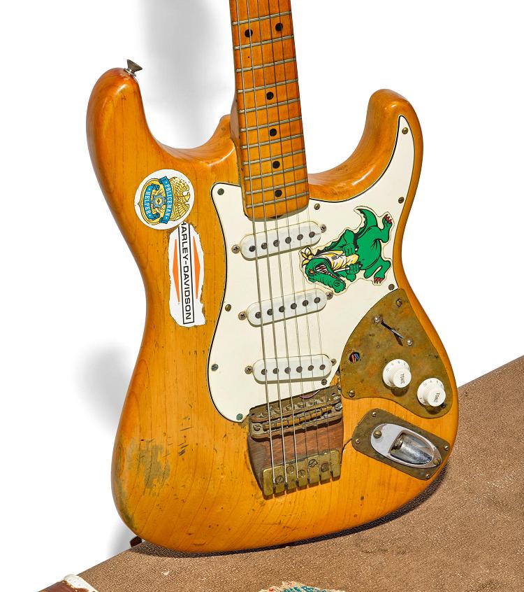 Jerry Garcia's 1957 Fender Stratocaster guitar, nicknamed 'Alligator', whcih sold at Bonhams for $524,075 (Image: Bonhams)