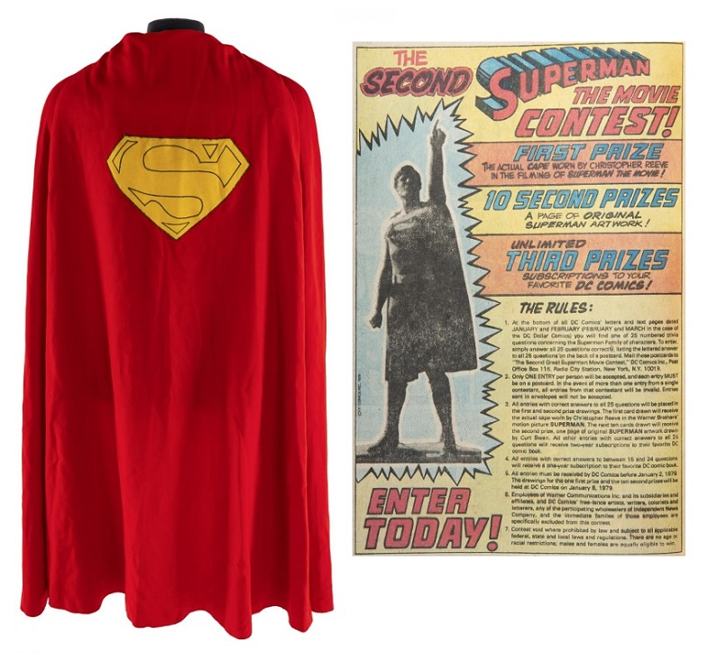 Christopher Reeve's Superman cape was originally a prize in a 1979 comic book competition (Image: Julien's Auctions)