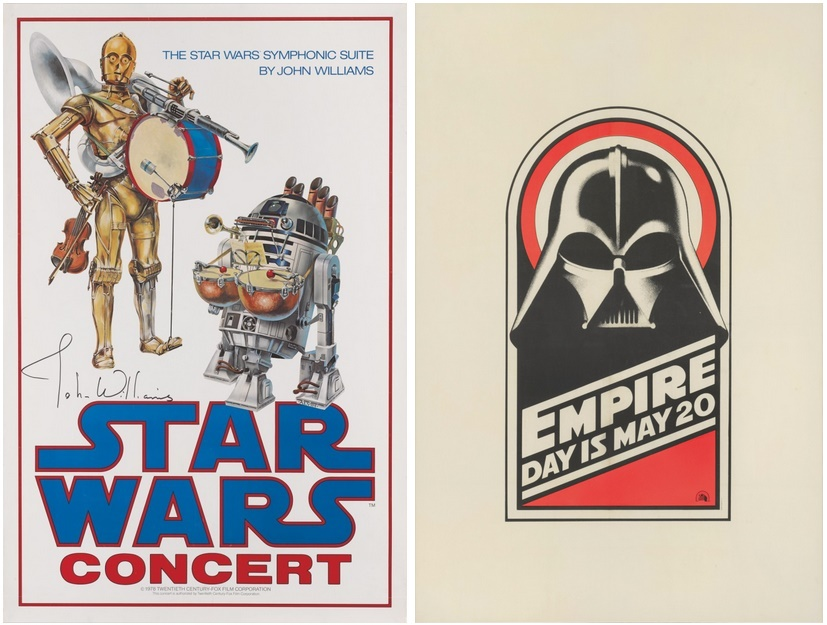 Posters for the 1978 Star Wars live concert series (est: £10,000 - £15,000) and the 1980 Royal charity premiere of The Empire Strikes Back (est. £16,000 - £24,000)