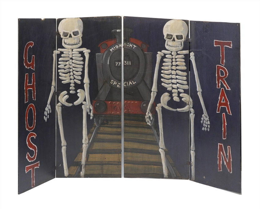 Vintage ghost train funfair ride doors