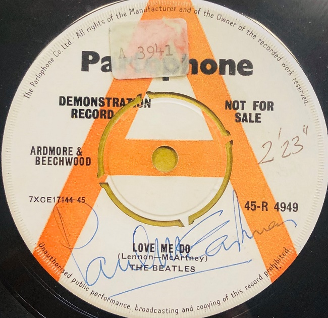The 'demonstration copy' of Love Me Do was the first Beatles record ever played on the radio, and remained in the radio Luxembourg archives for 30 years (Image: Omega Auctions)