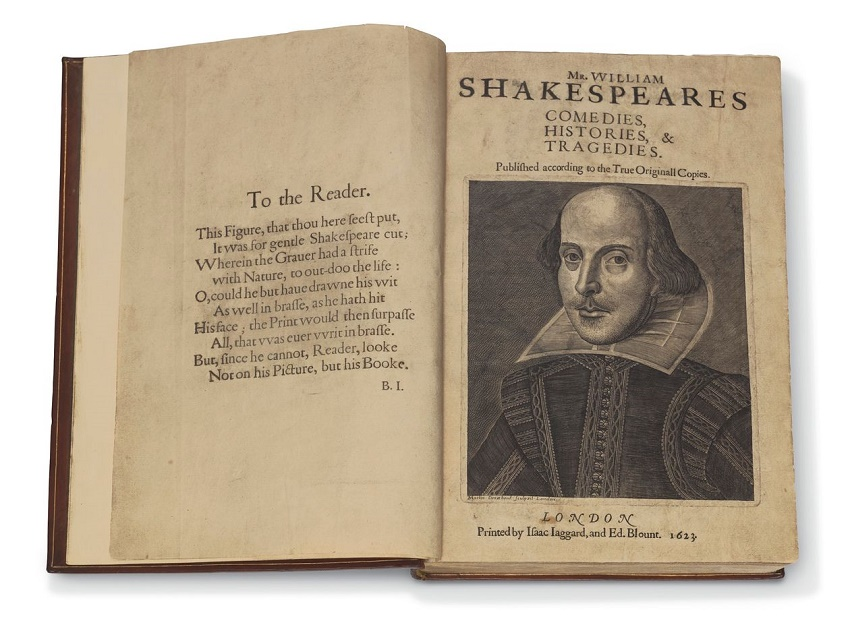 Williams Shakespeare's First Folio, one of just six complete copies in private hands, estimated at $4 - $6 million (Image: Christie's)