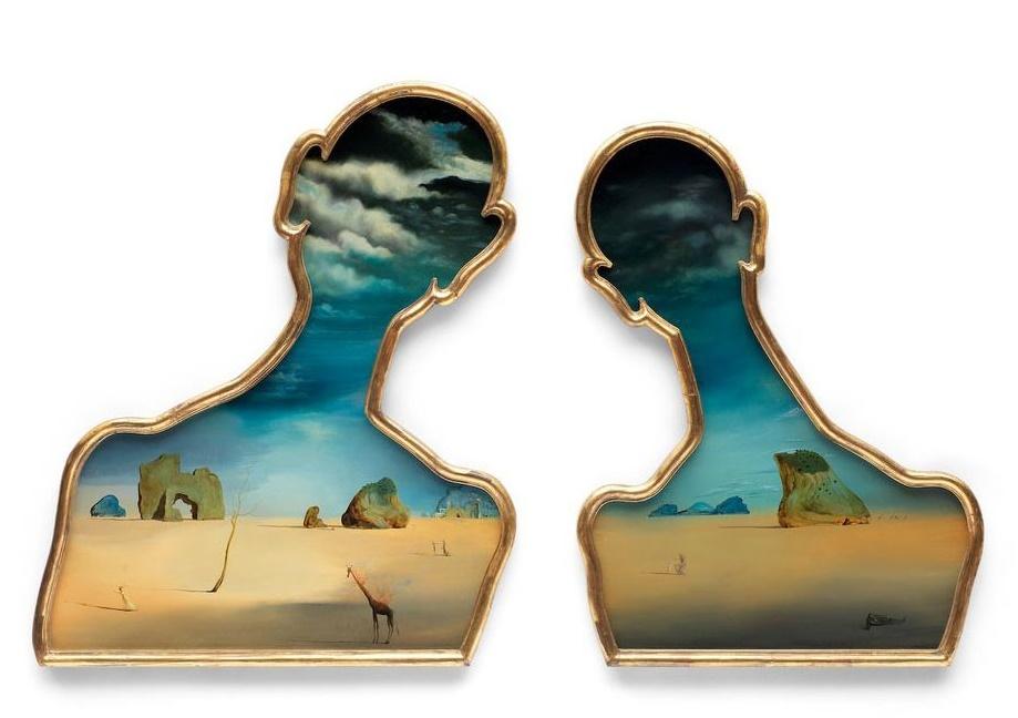 Couple aux têtes pleines de nuages (1936) by Salvador Dalí (Image: Bonhams)