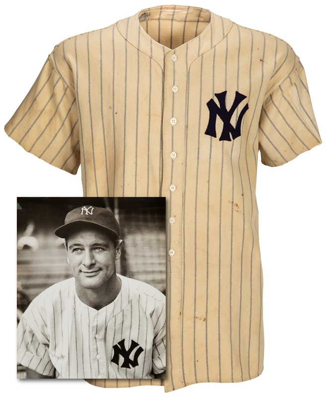 Lou Gehrig's 1937 Yankees home jersey, photo-matched to the portrait later used for his memorial plaque (Image: Heritage Auctions)