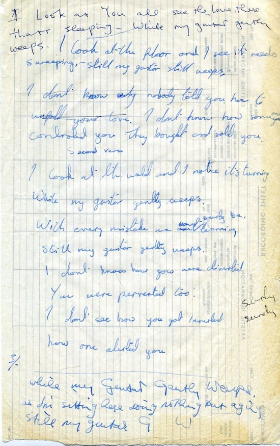 The lyrics to While My Guitar Gently Weeps, handwritten by George Harrison and Ringo Starr (Image courtesy of Moments in Time)