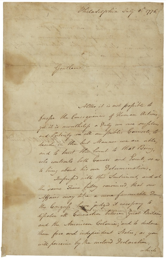 John Hancock's letters informed the 13 original colonies that the Declaration of Independence had been adopted (Image: Sotheby's)