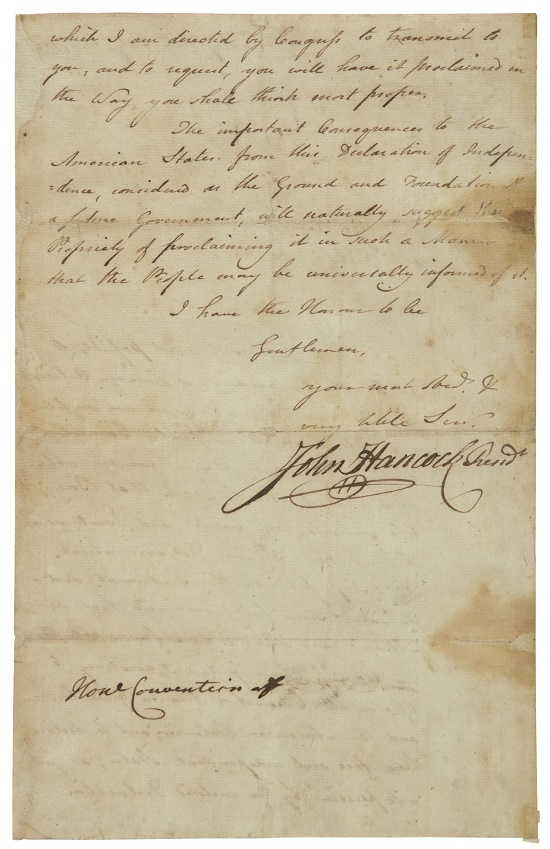 Although they weren't handwritten by Hancock, the letters all bear his signature, one of the most recognizable on the Declaration of Independence itself (Image: Sotheby's)