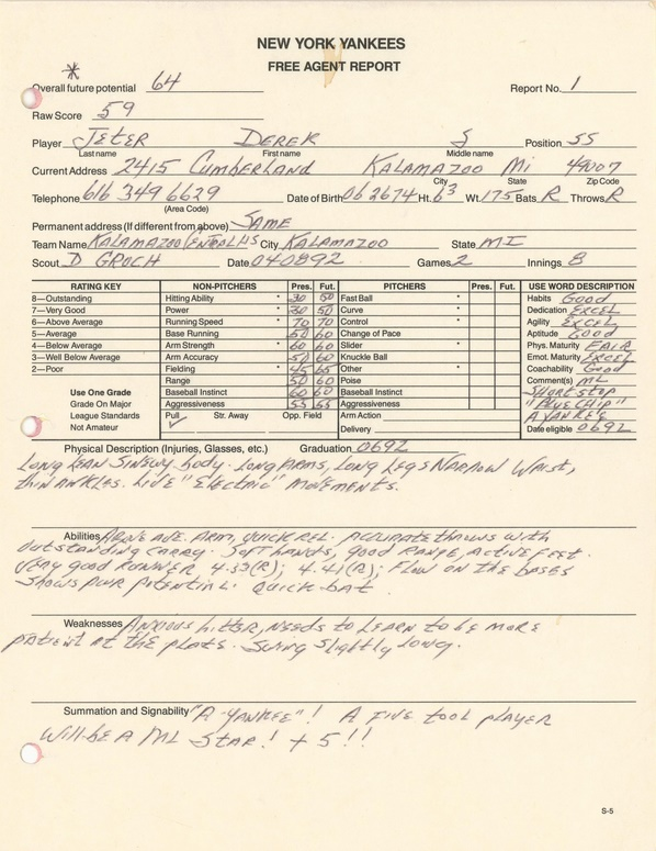 Derek Jeter's original 1992 high school scouting report for the New York Yankees (Image: Goldin Auctions)