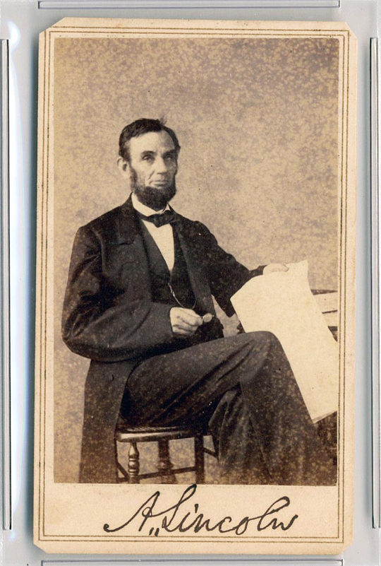 The signed CDV of Abraham Lincoln, graded PSA/DNA GEM MT 10 and estimated at $75,000 - $100,000 (Image: University Archives)