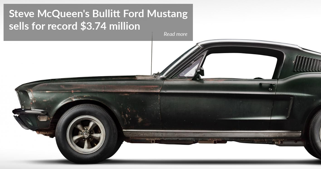 Steve McQueen's Bullitt Ford Mustang sells at auction for record $3.74 million