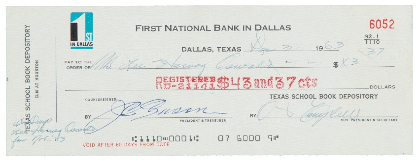 Lee Harvey Oswald's final paycheque from the Texas Book Depository (Image: Heritage Auctions)