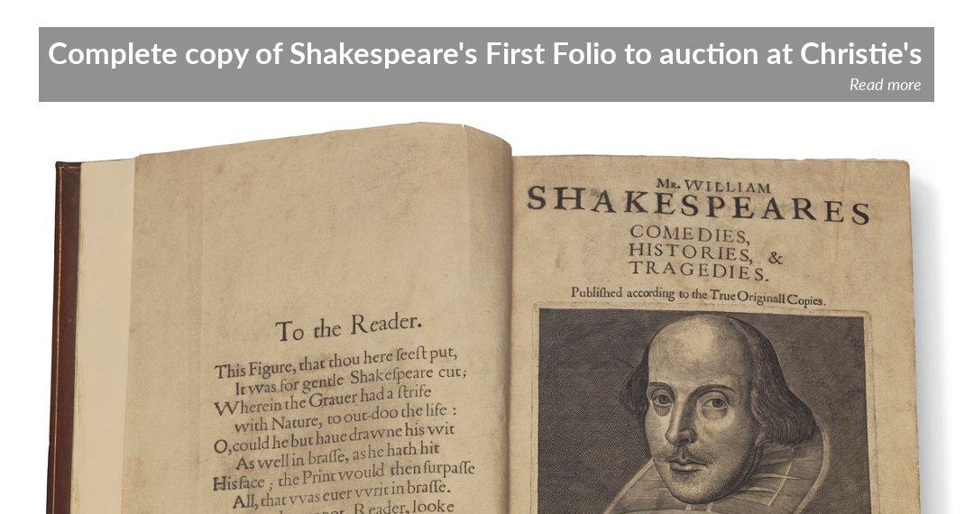 Rare complete copy of William Shakespeare's First Folio to auction at Christie's