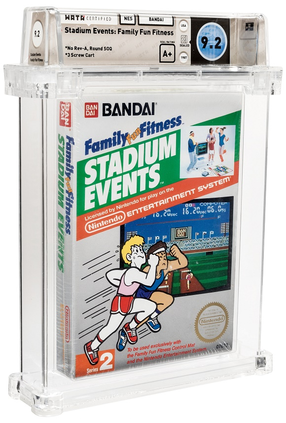 A factory-sealed copy of the 1987 Bandai NES game Stadium Events, graded Wata 9.2 A+ (Image: Heritage Auctions)