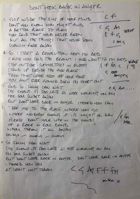 Noel Gallagher's handwritten lyrics for the Oasis song Don't Look Back in Anger (Image: Omega Auctions)