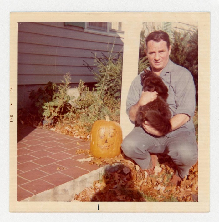 A Polaroid photograph of Jack Kerouac and his cat, taken from his personal photo scrapbook (Image: University Archives)