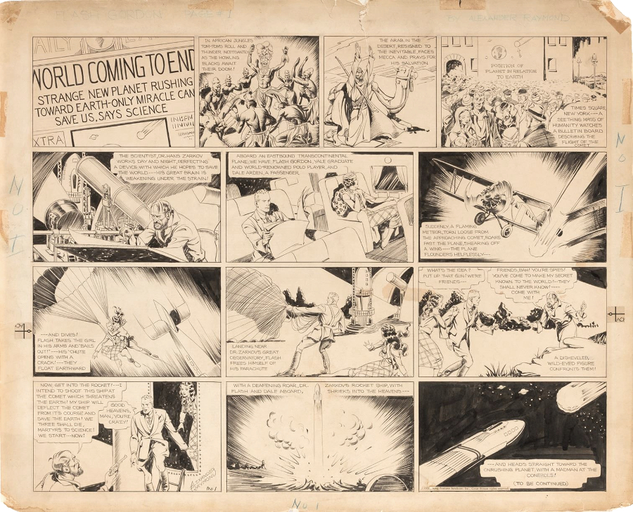 Alex Raymond's original 1933 comic strip artwork for Flash Gordon #1 (Image: Profiles in History)