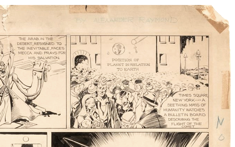 The vintage pencil and ink illustration bears Alex Raymond's name in the margin (Image: Profiles in History)
