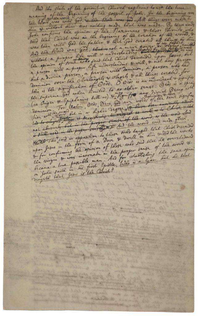 Isaac Newton's handwritten manuscript on the existence of God, circa 1710 (Image: Bonhams)