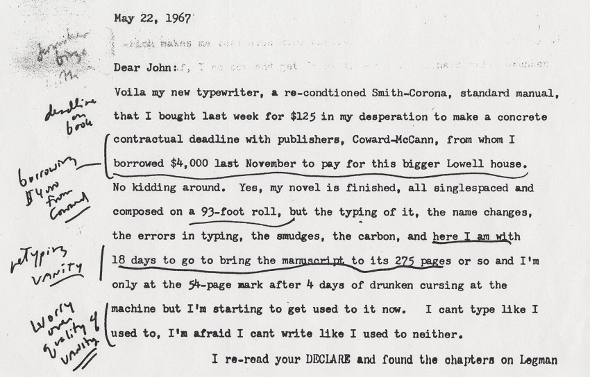 The typewriter comes with a copy of a letter from Kerouac to his friend John Holmes, in which he talks of his struggles with writing and alcohol (Image: University Archives)