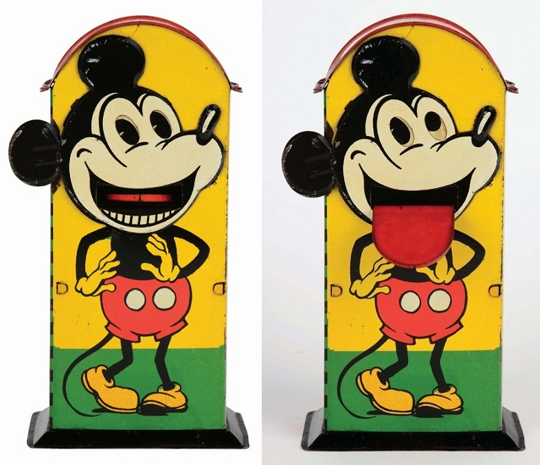 German tin-litho Walt Disney Mickey Mouse mechanical bank, estimated at $15,000 - $25,000 (Image: Morphy Auctions)