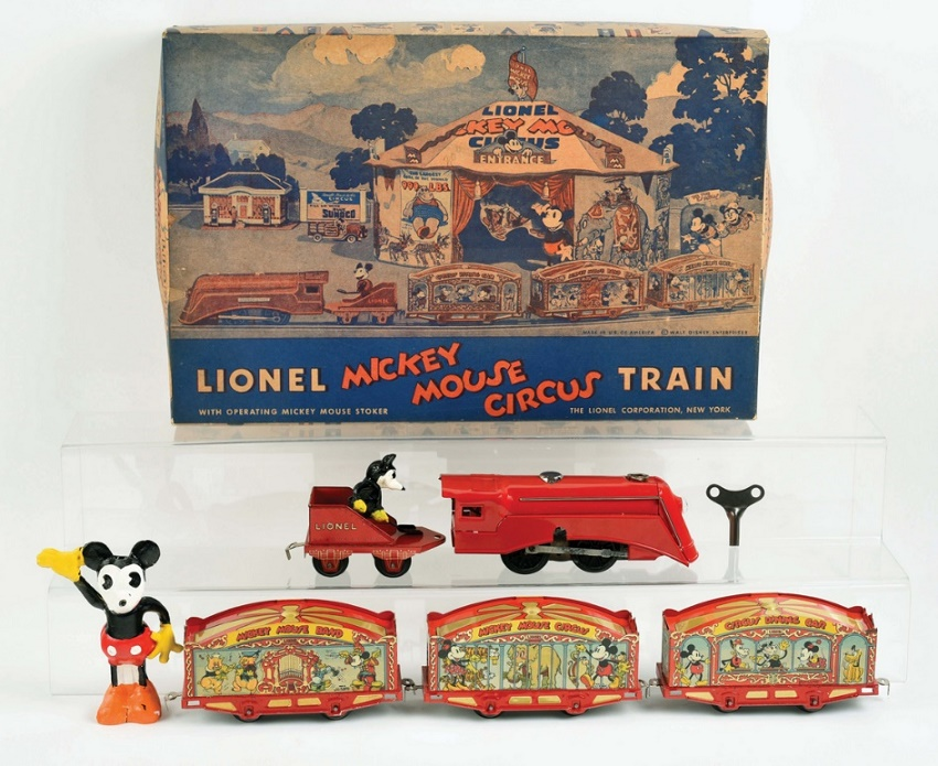 Lionel Mickey Mouse Circus Train, circa 1935, estimated at $10,000 - $20,000 (Image: Morphy Auctions)