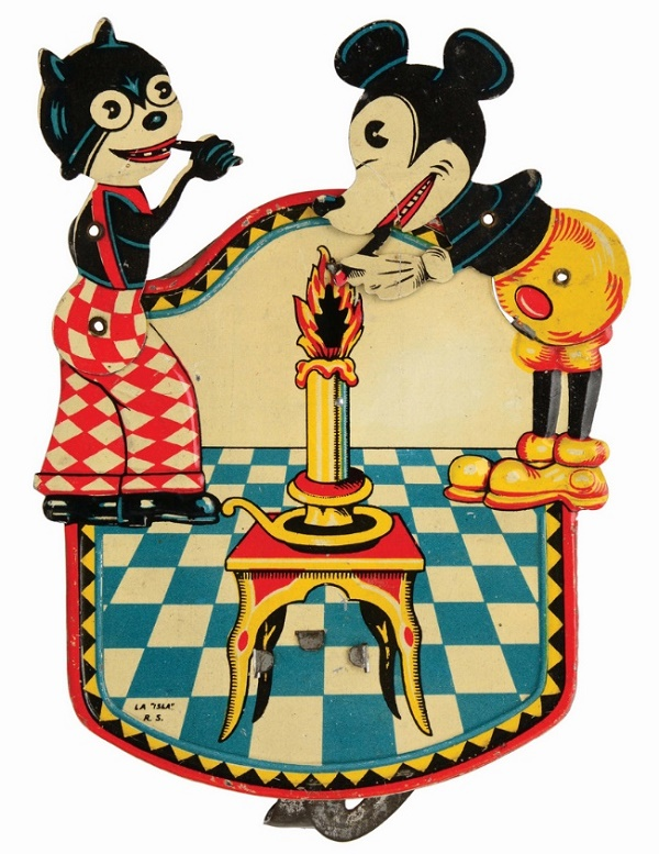 Spanish Isla Walt Disney tin-litho Mickey Mouse and Felix The Cat sparkler toy, estimated at $8,000 - $12,000 (Image: Morphy Auctions)