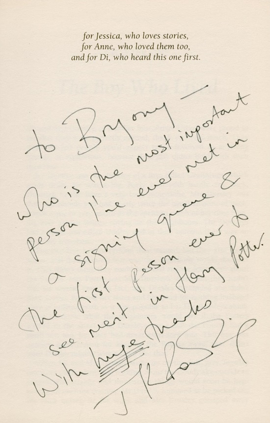 J.K Rowling inscribed the book to Bryony Evens during a signing event at the Cheltenham Book Festival in 1998 (Image: Bonhams)
