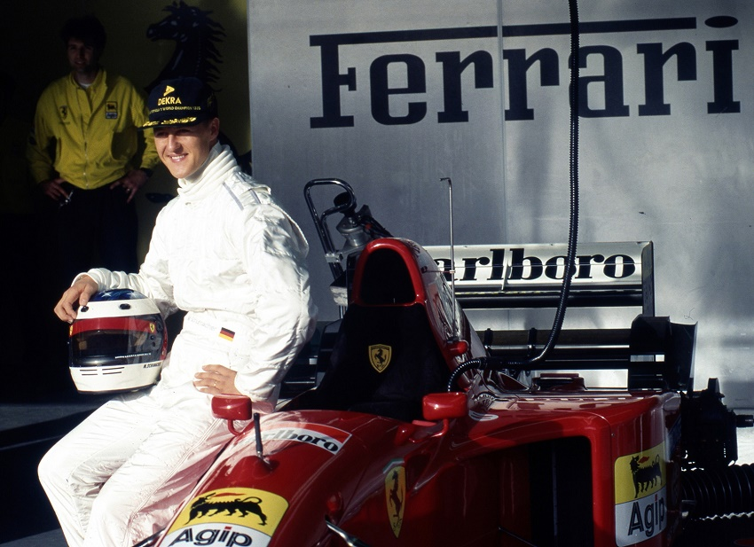 Michael Schumacher during his second Ferrari test drive at Estoril in November 1995 (Images: Girado & Co.)