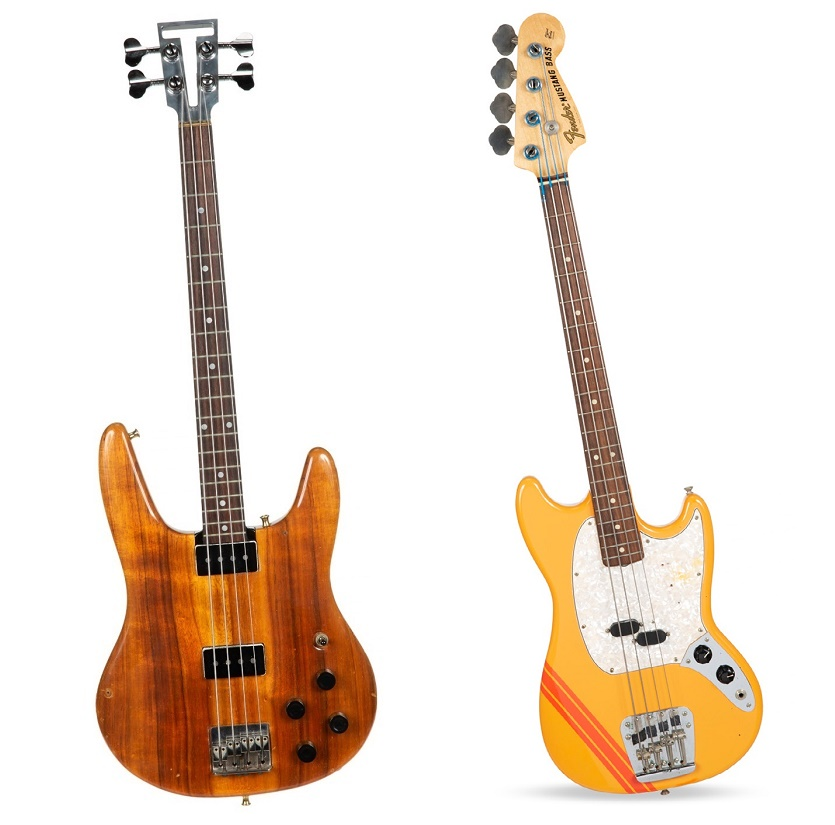 Left: A 1974 Dan Armstrong prototype bass ($100,000 - $200,000). Right: A 1969 Fender Mustang Bass ($300,000 - $500,000) (Images: Julien's Auctions)