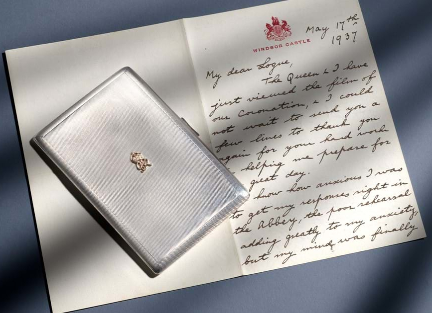 King George VI's letter of thanks and silver-gilt cigarette case gifted to his speech therapist Lionel Logue (Image: Wooley & Wallis)