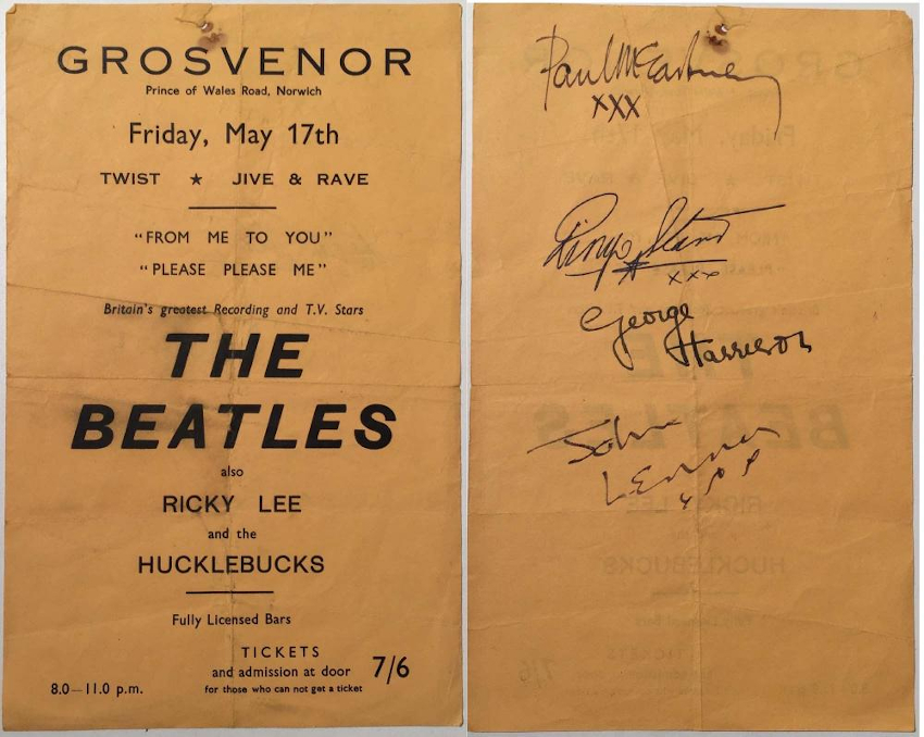Notable autographed items include this fully-signed flyer from a show at the Grosvenor Rooms, Norwich in May 1963 (Image: Omega Auctions)