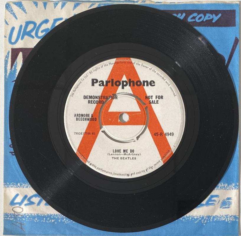 Just 250 demo copies of The Beatles' first single Love Me Do were pressed up by Manager Brian Epstein in 1962, to send to radio DJs, music journalists and concert promoters (Image: Omega Auctions)