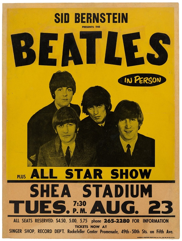 There are less than six genuine Beatles Shea Stadum posters in existence, and the last copy sold in November 2019 for $125,000 (Image: Heritage Auctions)