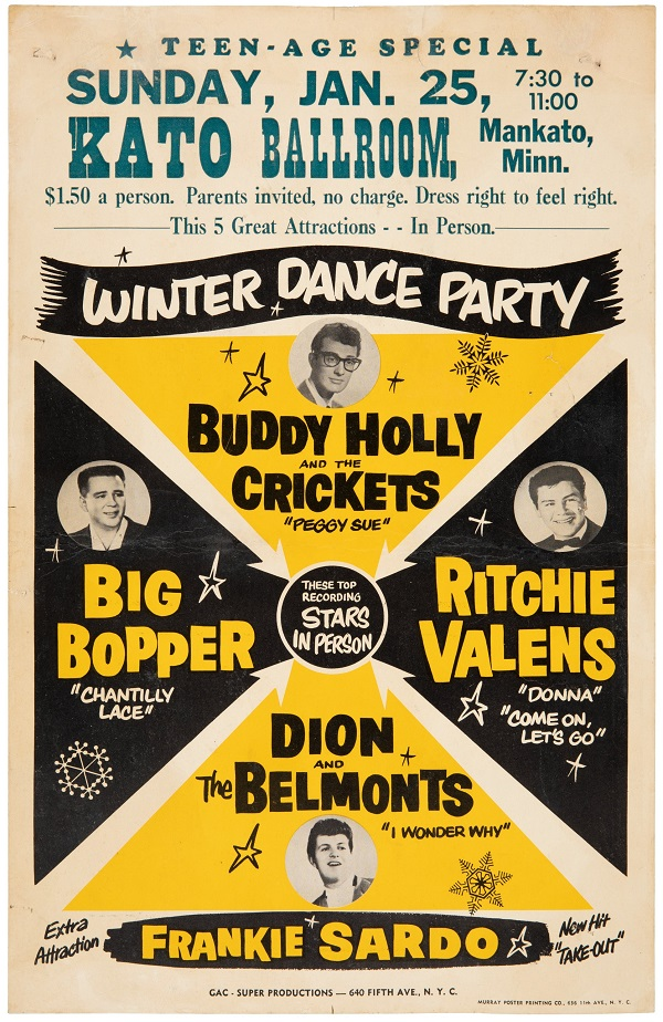 Just three original poster from the ill-fated 19559 Dance Party tour are known to exist, and none have ever been offered at public auction until now (Image: Heritage Auctions)