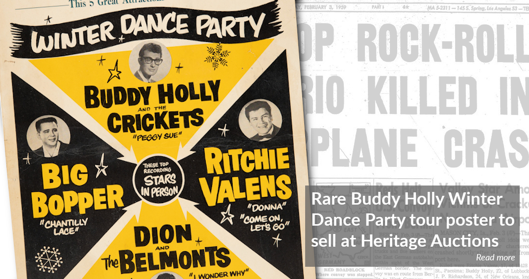 Rare Buddy Holly Winter Dance Party tour poster to sell at Heritage Auctions