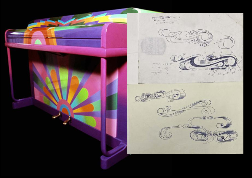 The original 1966 design sketches for Paul McCartney's Magic Piano were discovered by a builder in 1999, tucked inside a discarded suitcase (Image: Omega Auctions)