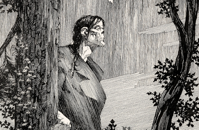 Bernie Wrightson's original endpaper artwork for Frankenstein